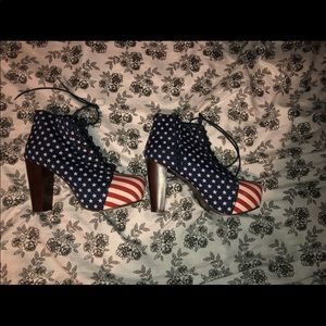 Shoes - American flag Fourth of July platform boots